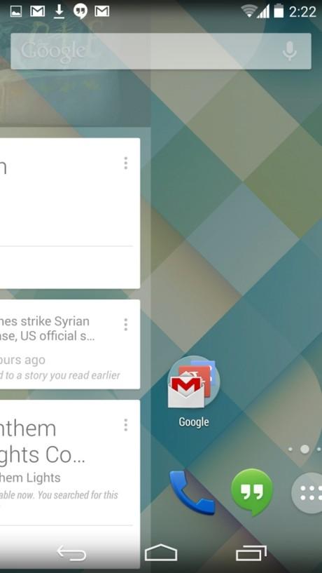 Google Now får man nå adgang til ved å sveipe fra venstre til høyre på hjemskjermen.