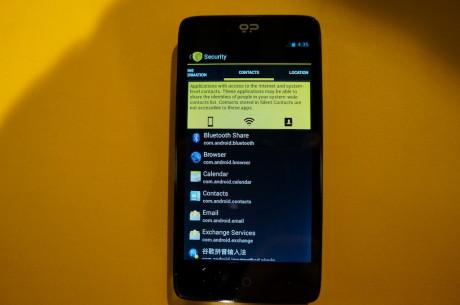 Blackphone Security Center igjen, denne gangen med en liste over applikasjoner som har tilgang til brukerens kontakter.