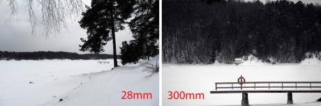 Så stor er forskellen mellem 28 mm vidvinkel og 300 mm tele.
