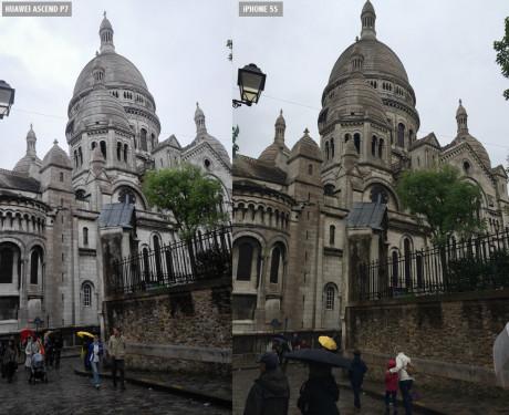 Samme motiv, Sacré-Cæur i Paris, skudt med iPhone 5S (til venstre) og Huawei Ascend P7 (til højre).