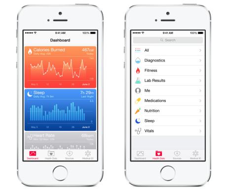 En ny app ved navn Health samler og viser informasjon om din helse, innsamlet fra dine fitness-enheter.