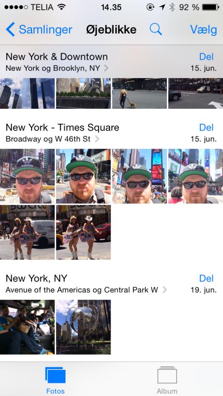 Her er vi dykket ned i Øjeblikke, hvor jeg både kan se specifikke steder og datoer fra min tur til New York.