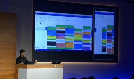 De universelle apps i Windows 10 tilpasser sig platformen, men indhold og funktionalitet - som her i Outlook - er præcis den samme på tværs af enheder.