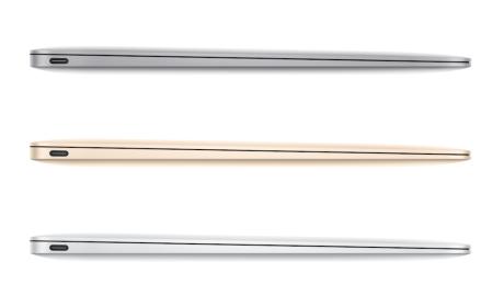 Den nye MacBook kommer i tre farver: Space Grey, guld og sølv.