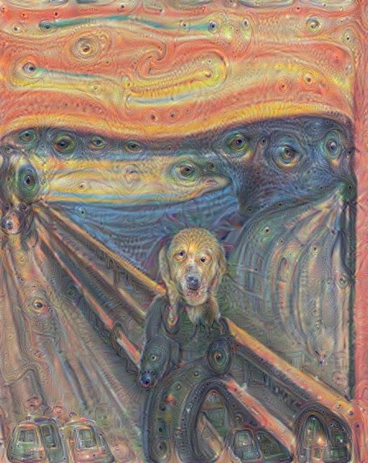 """Sådan tolker Googles kunstige intelligens Edvard Munchs """"Skriget"""". Foto: Google."""