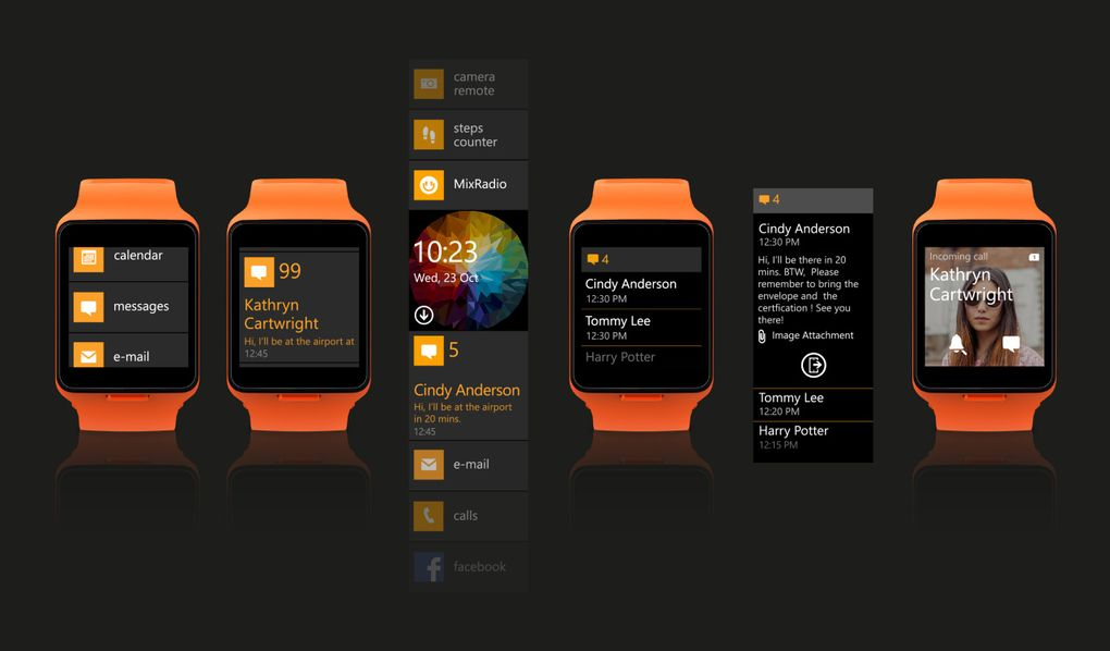 The watch's interface was based on the metro design in Windows Phone.
