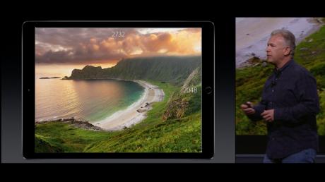 iPad Pros skjermoppløsning er på 2732 x 2048 piksler, hvilket gir samme pikseltetthet som iPad Air 2. Foto: Apple