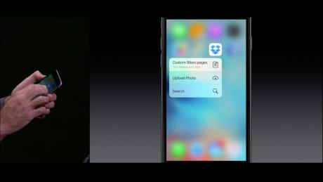 3D Touch virker også fra hjemmeskærmen og også med tredjeparts-apps. Her er det Dropbox. Foto: Apple
