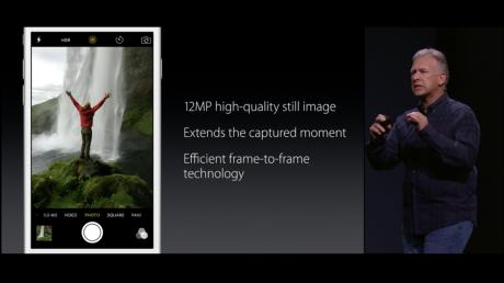 Det nye iSight-kamera i iPhone 6S og 6S Plus byder på 12 MP og animerede såkaldte Live Photos. Foto: Apple