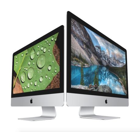 """21,5"""" iMac med 4K-opløsning side om side ved 27"""" iMac med 5K-opløsning. Foto: Apple"""