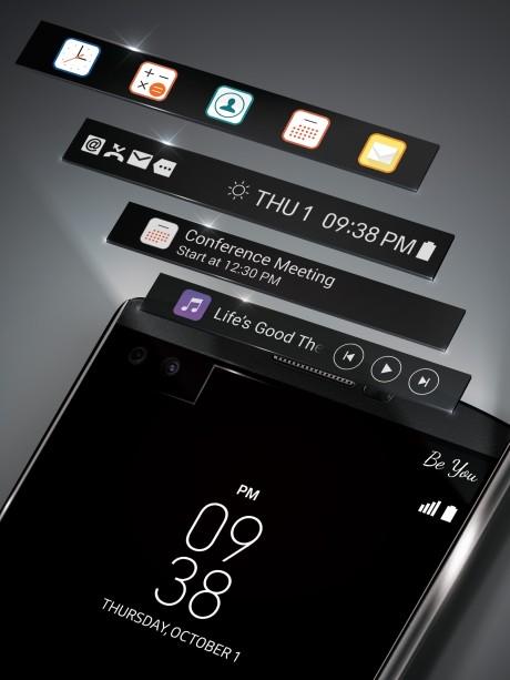 Second Screen på LG V10 sidder over hovedskærmen og er altid tændt. Foto: LG
