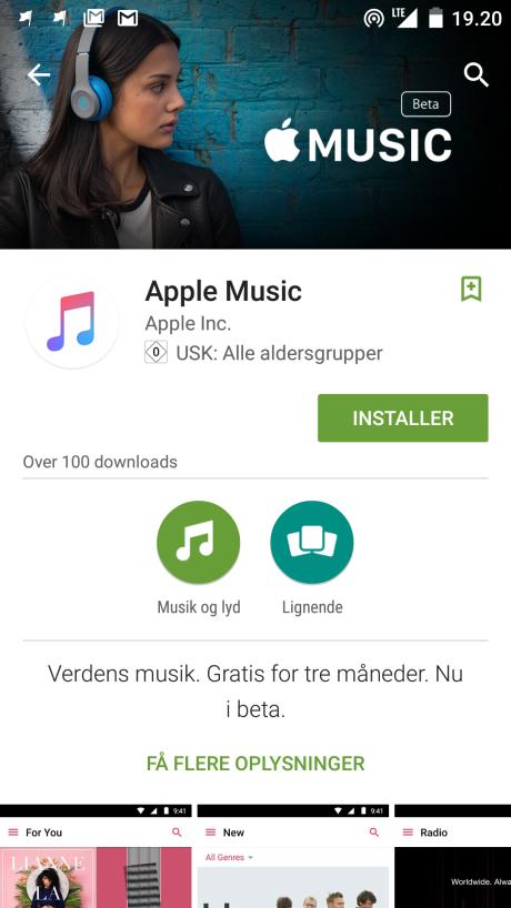 Screenshot fra Apple Music