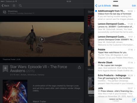 En app åbnet med Slide Over gir deg adgang til alle dens viktigstefunksjoner, bare på mindre plass.