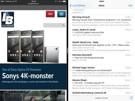 Og sådan ser det ud, når Split View er aktiveret og de to apps er aktive side om side.