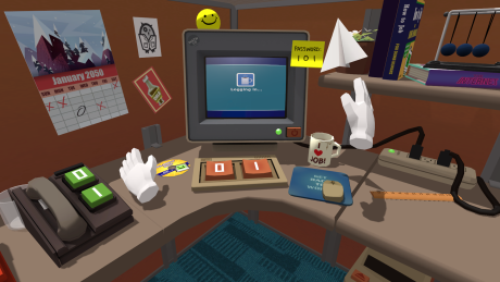Et 2D-billede yder på ingen måde virtual reality-oplevelsen retfærdighed. Men sådan ser din arbejdsplads altså ud i VR-spillet Job Simulator, som følger gratis med, når man køber HTC Vive. Foto: HTC