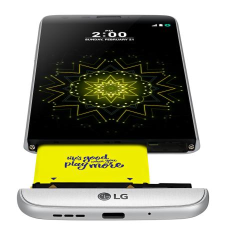 Utskiftbart batteri i LG G5. Foto: LG