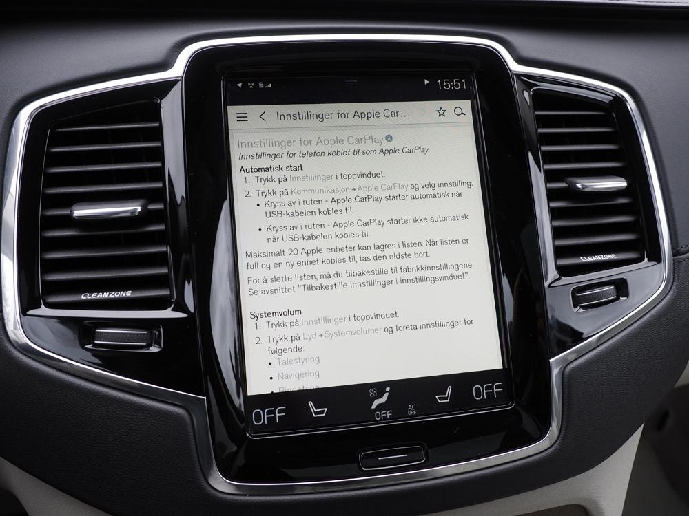 Hvis der er noget, du ikke kan finde ud af, er brugsvejledningen integreret i Volvo'ens infotainment-system.