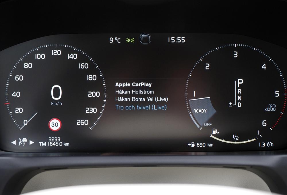 I Volvo XC90 og visse andre biler kan du også få CarPlay-info på instrumentbrættet.