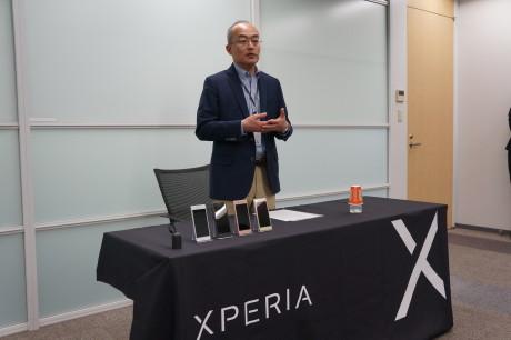 Hiroki Totoki, President and CEO Sony Mobile, forteller om Sony Mobiles strategi for den kommende Xperia X-serie. Foto: Peter Gotschalk, Lyd & Bilde