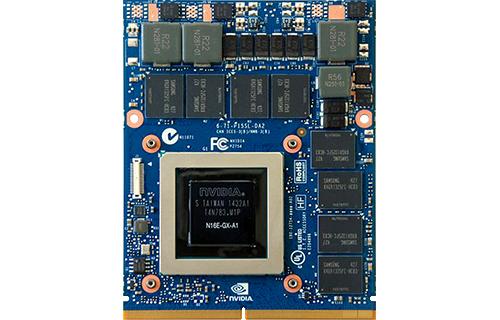 Nvidias GeForce-processorer er i praksis standarden på spillecomputere. Her er de GeForce GTX980M, som er topmodellen til bærbare lige nu. Foto: Nvidia