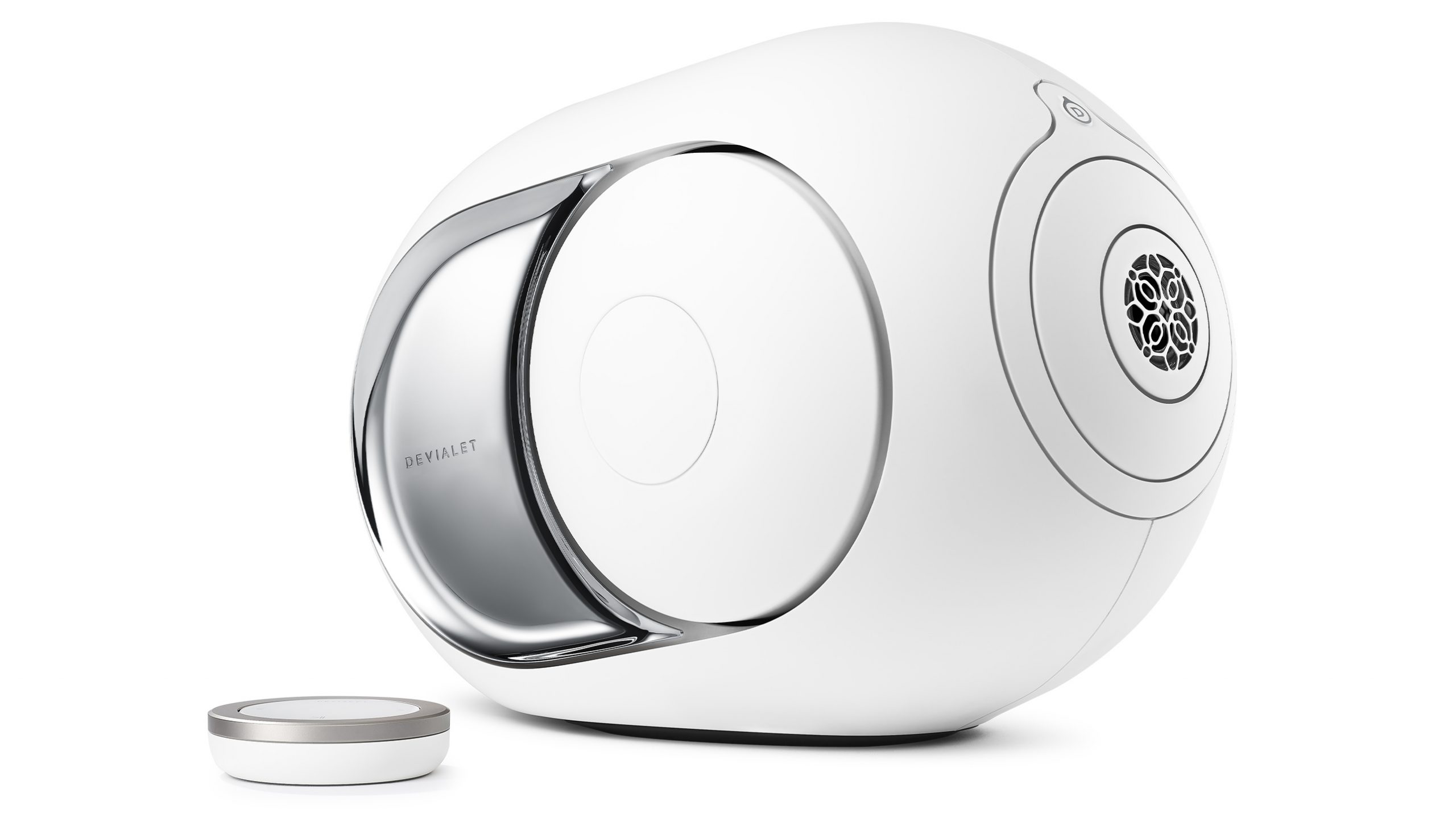 Devialet Phantom I light chrome angle