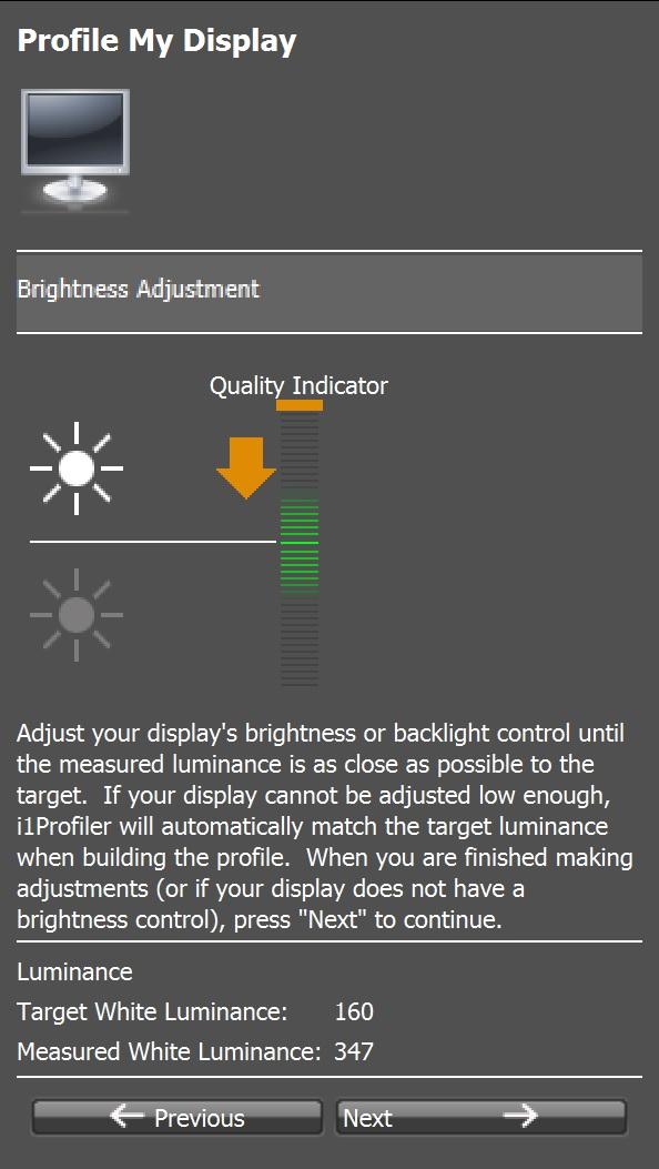 Brightness check i1 Profiler