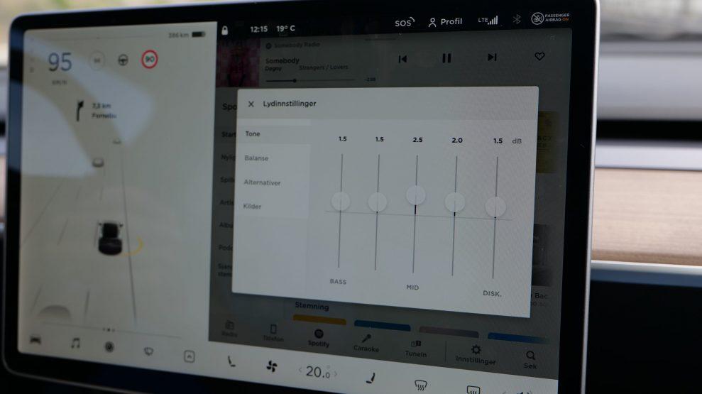 Tesla Model Y sound settings